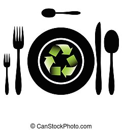 Bio food-Recycle - Illustration of cutlery as a symbol of...