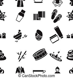 Spa pattern icons in black style. Big collection of spa...