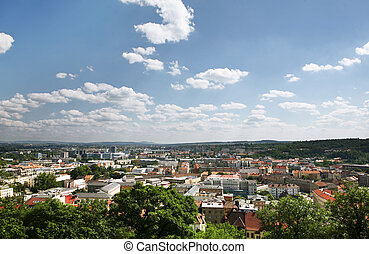 Brno - Panorama of Brno from top view during sunny day