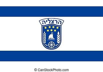 Flag of Herzliya City , Israel. Vector Format