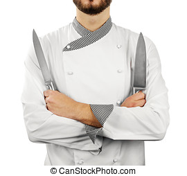 chef with knives isolated on white background