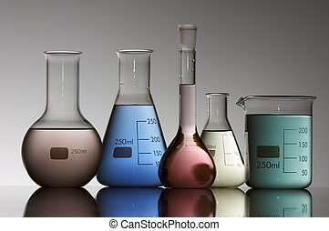 laboratory equipment - five chemical laboratory flasks...