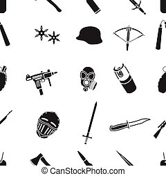 Weapon pattern icons in black style. Big collection of...