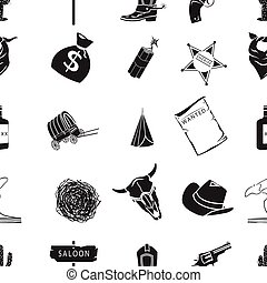 Wild west pattern icons in black style. Big collection of...
