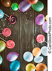 Birthday baloons and objects - Birthday background. Birthday...