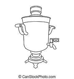 Samovar icon in outline style isolated on white background. Russian country symbol stock vector illustration.
