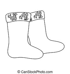 Winter felt boots icon in outline style isolated on white background. Russian country symbol stock vector illustration.