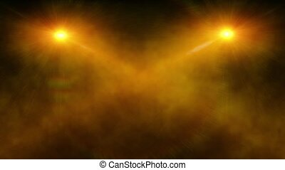 Abstract yellow spot light with smoke