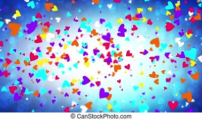 Color falling hearts on a blue background