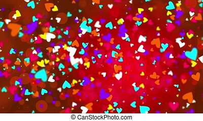 Color falling hearts on a red background