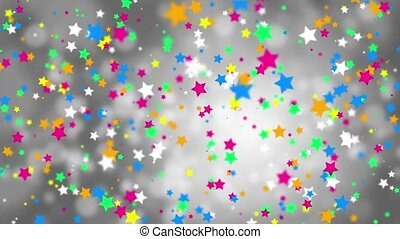 Falling color stars on a gray background