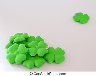 Background with green Shamrock on white background for St....