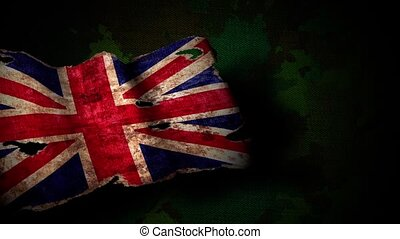 Old England flag on a military background