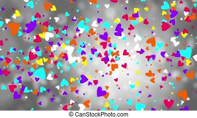 Color falling hearts on a gray background