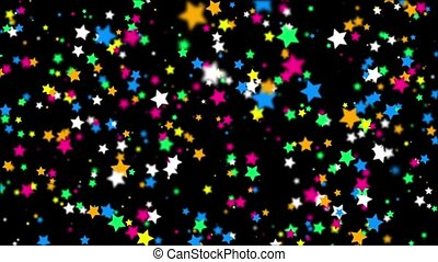 Falling color stars on a black background