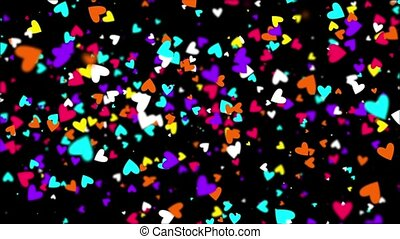 Color falling hearts on a black background