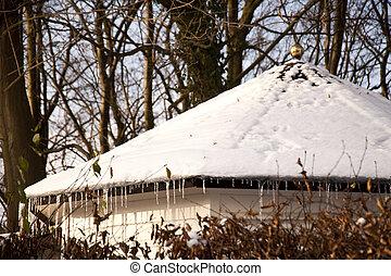 house in snowy winter