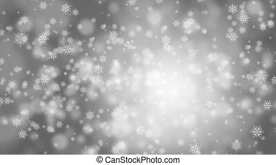 Falling snow on a gray background