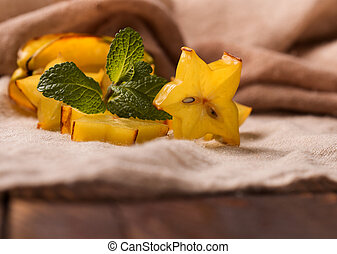Cutted starfruit or carambola, healthy dessert