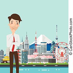 Businessman thinking with japan buildings landmark.