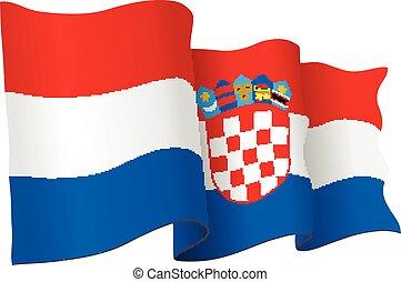 Croatia flag vector waving - Croatia flag waving isolated on...