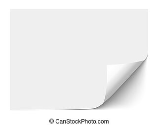 Sheet of paper with curl corner isolated on white...