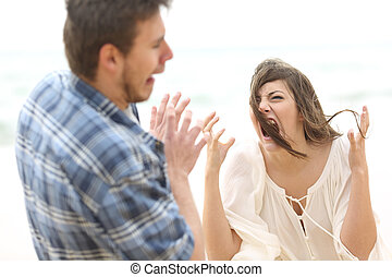 Mad woman shouting to her boyfriend - Ugly and crazy woman...