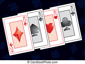 Aces - Quads aces on dark background, vector illustration