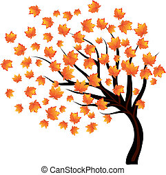 Lonley tree with falling leaves on the wind, vector...