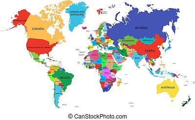 Colored political world map with names of sovereign...