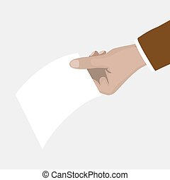 Man's hand holding a piece of paper