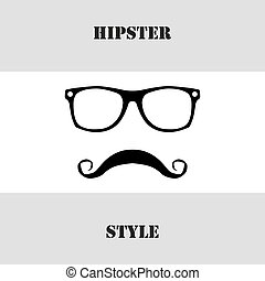 Hipster style. Glasses and mustache. Vector illustration -...