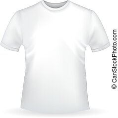 Man's white T-shirt template with shadow isolated on white background