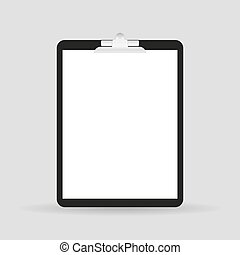 Blank white paper sheet in a clipboard of standing on the...