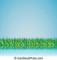 Grass against the sky with reflection in water