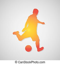 Soccer player kicking ball icon in orange. Vector...