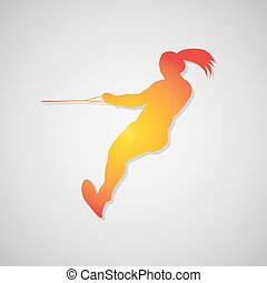 Icon girl waterskiing with shadow in orange. Vector...