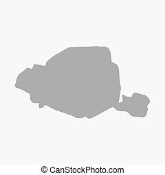 Map of Paris in gray on a white background