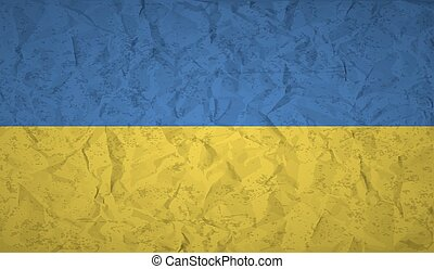 Ukraine flag with the effect of crumpled paper and grunge