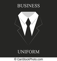 Black suit, business uniforms in flat design