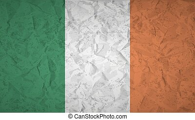 Flag of Ireland to the effect of crumpled paper and grunge