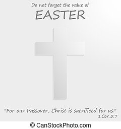 White cross with the text of the Bible. Easter - White cross...