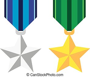 Two medals in the shape of a star, silver and golden