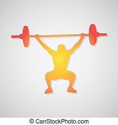 Icon weightlifter. Man with barbell in orange. Vector illustration