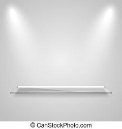 Glass shelf with a glowing light rays - Glass shelf with a...
