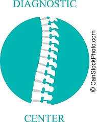 Flat spine icon for orthopedic therapy, diagnostic center. -...
