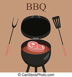 Barbecue grill party. Vector illustration with grill and steak