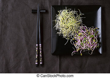 Mix of Fresh Sprouts - Healthy diet. Fresh Garlic and Radish...