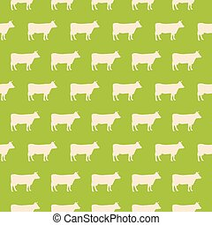 Seamless pattern with silhouette of a cow on a green background