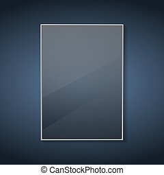 Glass frame with reflections on a blue background. Vector illustration